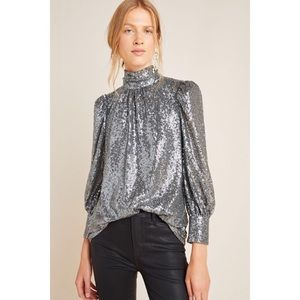 Anthropologie Luna Sequin Blouse Top NWT